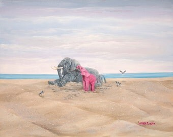 "Come On Let's Play 8"" x 10"" Print - 11"" x 14"" with matting. Pink Elephants"