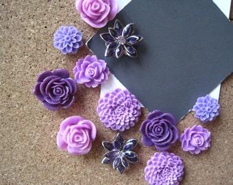 Pretty Thumbtacks, Purple Push Pins, 12 pcs Pushpins, Bulletin Board Tacks, White Wedding Decor, Gifts, Housewarming Gift