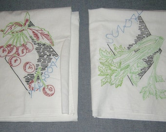 """Tea Towels, Hand Embroidered Dish Towel Set of 3 Fruits Vegetables 28"""" x 33"""" various sizes, Flour Sack Fabric"""