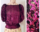 Vintage 80s Fuchsia Crochet and Sequin Top Size 8