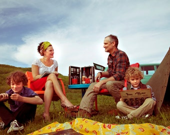 Fine Art Photography-Vintage-family -camping -retro image- tent-records-Beatles-Wes Anderson style-desaturated-yellow-red- poster-8x12