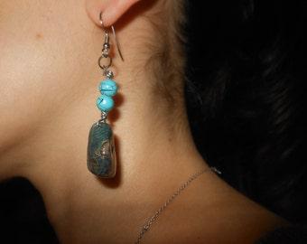 Turquoise n Stone Earrings