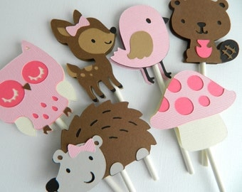 12 Girl Woodland Cupcake Toppers Girl Woodland Baby Shower Woodland Birthday Party Woodland Decorations Woodland First Birthday • Set of 12
