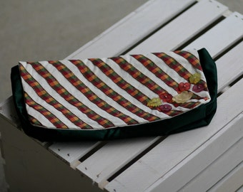 Country Chic Soft Satin Clutch with Floral Buttons