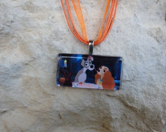 Disney Kiss Collection Lady and The Tramp Glass Pendant and Ribbon Necklace