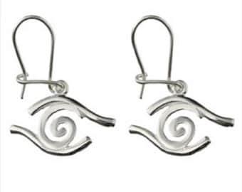 Sterling Silver Earrings - Swirl w/ Evil Eye Border