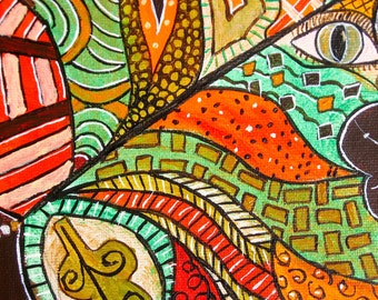 Leaves Leaf Painting Original Acrylic Painting Zentangle Leaf Two Paintings 8 x 10 Each Art by Glorianna