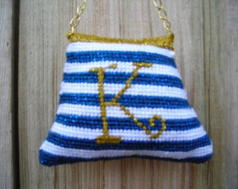 Nautical Themed Personalized Needlepoint Purse  Ornaments