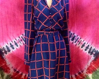 Women's 70's blue and red pattern dress with matching belt by Kenny Classics