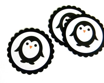12 Penguin Scalloped Embellishments