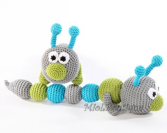 Crochet toy rattle Teething baby toy Crochet baby toy Grasping Toys Caterpillar Gift for babies Baby shower gift