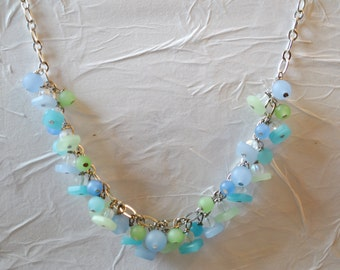 Beach necklace with blues, and greens recycled glass beads, summer necklace
