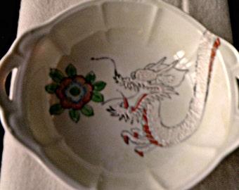 Vintage Japanese Moriage Dragon and Lotus Flower Double Handled Porcelain Bowl