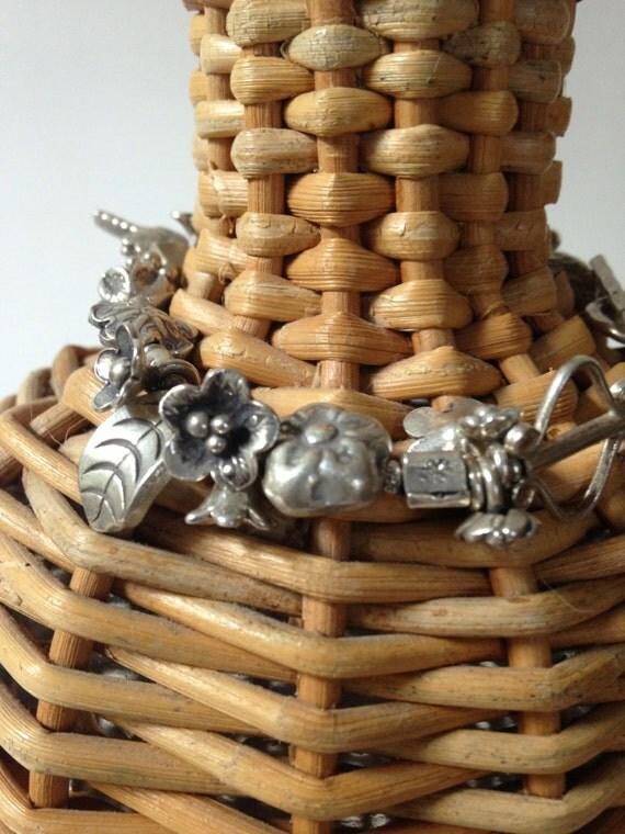 handmade fine silver wild flower dragonfly bracelet by ladeDAH jewely