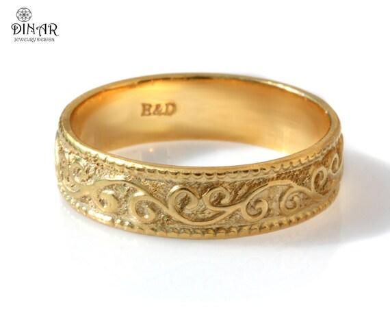Wedding ring 18k yellow gold Wedding Band 6mm gold ring Art