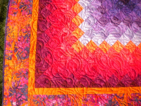 Red orange purple batik wall hanging quilt baby quilt for Orange and purple walls