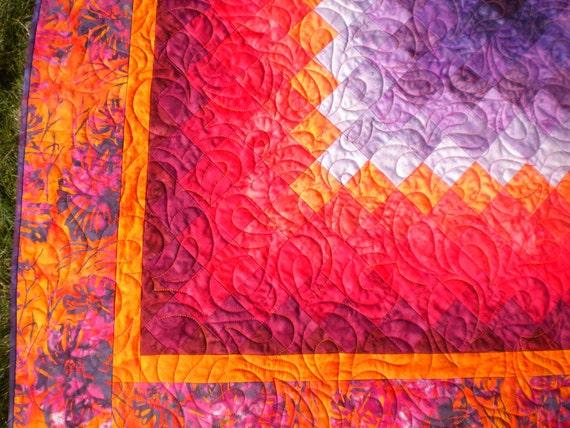Red Orange Purple Batik Wall Hanging Quilt Baby Quilt