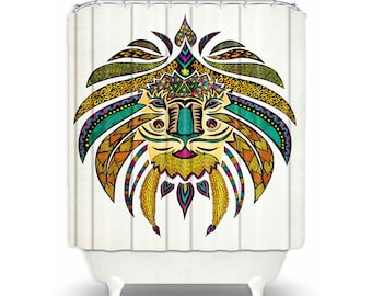 Bathroom Shower Curtain with Colorful 'Emperor Tribal Lion' Design on White Curtain