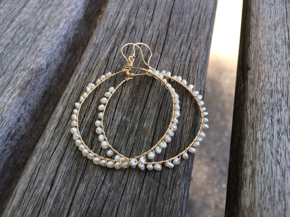 Fresh Water Pearl Hoop Gold Filled Earrings