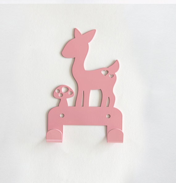 Cute fawn mushroom children 39 s coat rack baby by einadesign Cute coat hooks