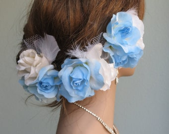 Wedding Accessory Set Of 3 Hair Clips Bridal Accessory Hair Flower Clip Vail Feathers