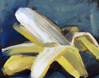 "Small original still life painting 6x6"" banana acrylic on panel blue yellow white impressionist fruit art by Cristina Jacó"