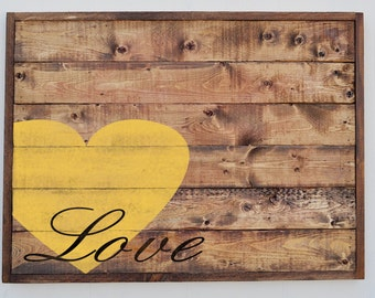 Wood Plank Love Sign, Home Decor Sign, Custom Rustic Wood Sign, Anniversary Gift, Wedding Gift, Wall Art