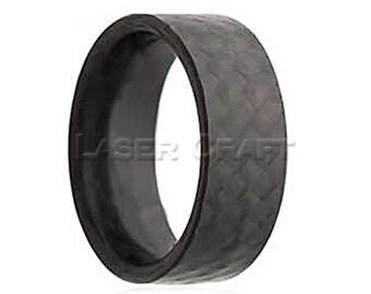 Carbon Fiber Wedding Band Flat 6mm-8mm