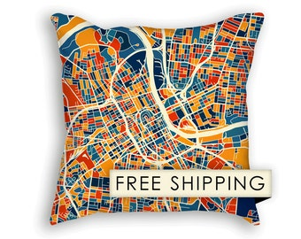 Nashville Map Pillow - Tennessee Map Pillow 18x18