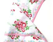 Pretty Bright Pink Red and Sky Blue Floral Cotton Hankie Handkerchief