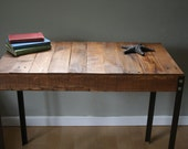 Rustic Reclaimed Wood Desk / Table with Angle Iron Legs Made to Order/Custom Order