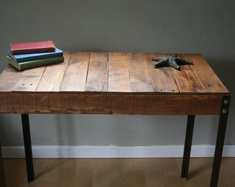 Rustic Reclaimed Wood Desk / Table with Industrial Iron Legs Made to Order/Custom Order