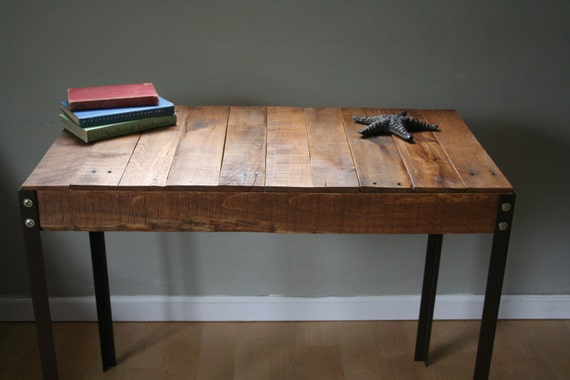 Reclaimed Wood Rustic Home Office: Rustic Reclaimed Wood Desk / Table With Industrial Iron Legs