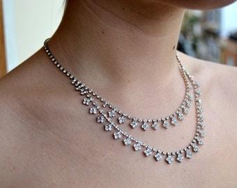 SALE-Necklace Jewelry, Rhinestone Necklace, Bride