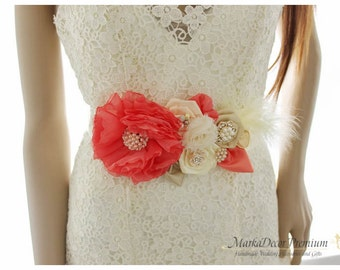 Coral Bridal Sash Feathers Sash Brooch Beaded Sash Custom Wedding Bridesmaids Belt in Ivory, Coral, Nude and Champagne
