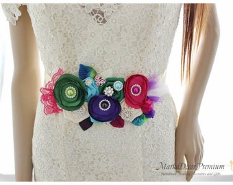 Bridal Sash / Custom Wedding Bridesmaids Belt in Ivory, Fuchsia, Purple and Kelly Green with Brooches, Beads, Pearls, Crystals, Jewels