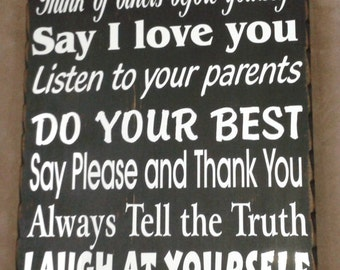 Personalized Family Rules Primitve Wood Sign