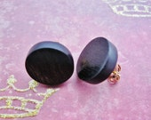 "16mm (5/8"") Round Gabon or Nigerian Ebony Fake Gauge Earrings"