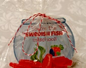 INSTANT Download SWEDISH Fish Bowl Fishies Valentines Day Cards or School Lunch Box Jokes Note  - (6) U Print lunchbox Notes