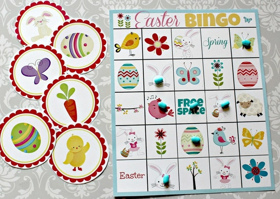 INSTANT DOWNLOAD Easter BINGO 3 in 1 Games Printable Download - Fun Family Party diy Memory Old Maid