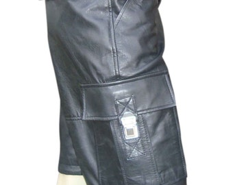 Leather Combat Shorts With Six Pockets Custom Made To Order BSHN004