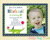 Alligator Birthday Invitation - Boys Polka Dot Invite - Alligator & Balloon - 1, 2, 3, year old - 1st, 2nd... ANY Age - Custom Photo Invite