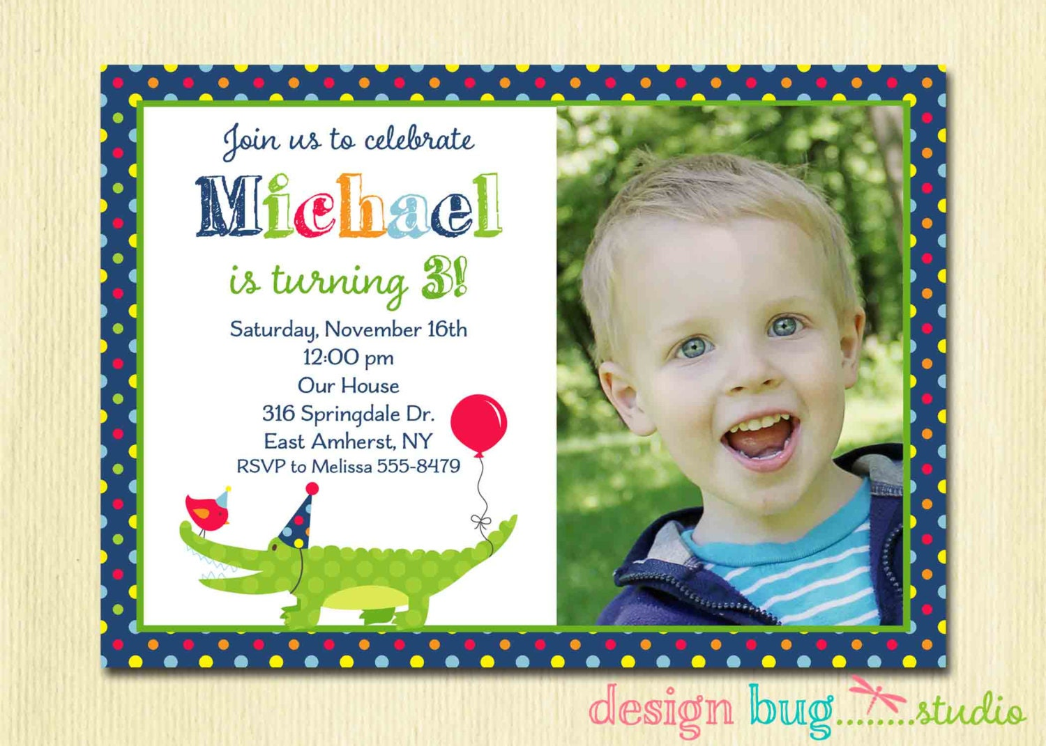 Alligator Birthday Invitation Boys Polka Dot Invite Swamp – 3 Year Old Birthday Invitation