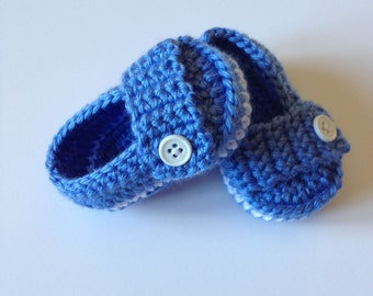 Crochet Baby Booties, Loafers, 0-3 Monts