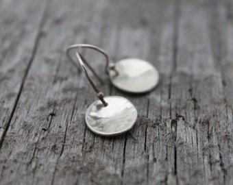Tiny Hammered Silver Disc Earrings