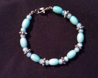 Powder Blue Beaded Bracelet with Silver Tone Accents