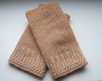 Beaded Wrist warmers, cuffs light brown with white glossy beads ornament, from cashmere Ready to ship