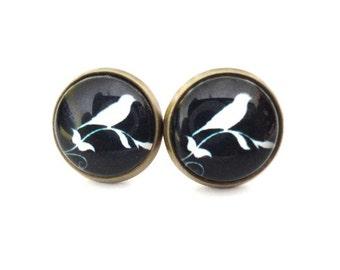 Earrings Bird black white