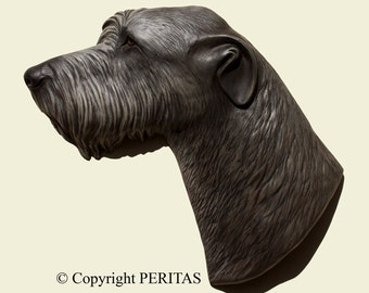 Hand painted Irish Wolfhound sighthound dog PERITAS wall sculpture statue fine art relief