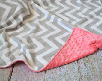 Gray Chevron and Coral Blanket - Ultra Soft Minky Blanket - Gray Chevron and Coral Personalized Baby Blanket